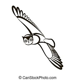 Hand drawn owl. Opened wings. Black white plumage