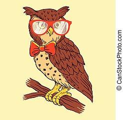 Hand drawn owl vector illustration