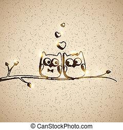 hand drawn owls, vector eps 10