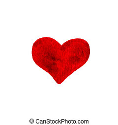 Hand-drawn painted red heart, beautiful element for your design.