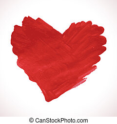 Hand-drawn painted red heart, vector element
