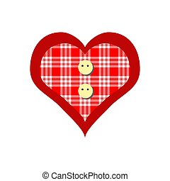 Hand-drawn painted red heart, vector element. christmas toy
