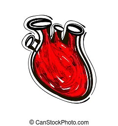 Hand-drawn painted red heart