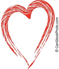 Hand-drawn painted red heart, vector element for your design