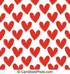 Hand-drawn painted red hearts seamless pattern , vector for your design.