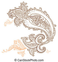 Hand Drawn Paisley ornament. - Paisley. Ethnic ornament....