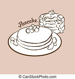 Hand-drawn Pancake bread illustration. Pancake, usually known in Greece. Vector drawing series.