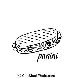 Hand drawn panini or sandwich. Vector monochrome outline vintage illustration.