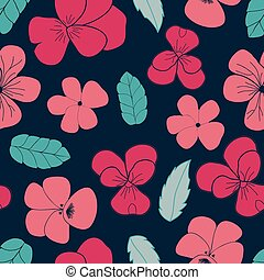 Hand Drawn Pansies and Leaves vector seamless pattern
