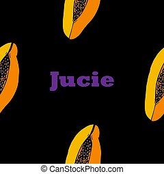 hand drawn papaya vector