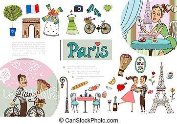 Hand Drawn Paris Elements Concept