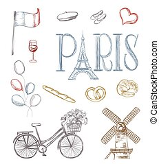 hand drawn paris symbols. tour eiffel, french bakery, mill, bicycle,flowers, wine glass, balloons, flag