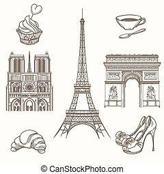 Hand drawn Paris symbols vector