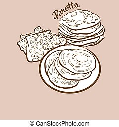 Hand-drawn Parotta bread illustration. Flatbread, usually ...