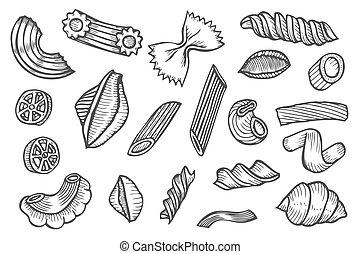 Hand drawn pasta set.