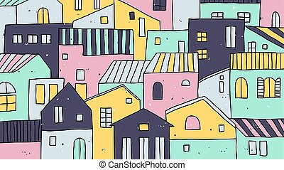 Hand drawn pastel village with beautiful houses landscape