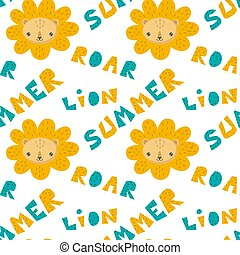 Hand drawn pattern of a cute lion with lettering.