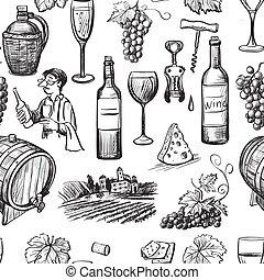 Hand drawn pattern of wine making