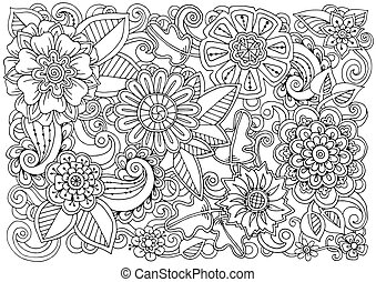 Hand drawn pattern with flowers. Ornate pattern with abstract flowers and leaves. Black and white background.