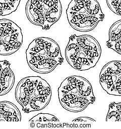 outline pomegranate fruit seamless pattern