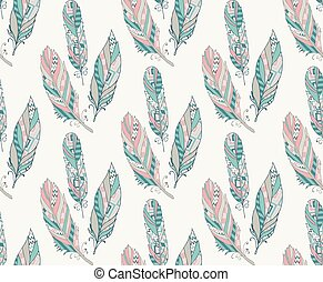 Colorful Ethnic Seamless Pattern with Feathers. Vector Illustration. Hand Sketched. Pattern Swatch