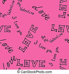 hand-drawn pattern with word love