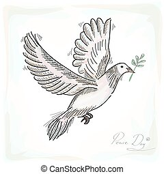 Hand drawn peace symbol dove bird with texture background....