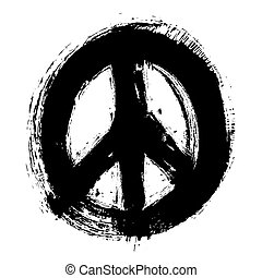 hand drawn peace symbol, vector