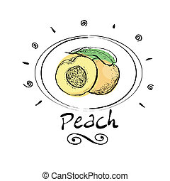 peach - hand drawn peach in vignette