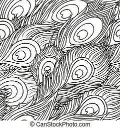 hand-drawn peacock feathers - Vintage seamless pattern with...