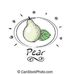 hand drawn pear in vignette