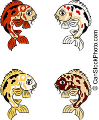 hand-drawn, peces, en, diferente, colores