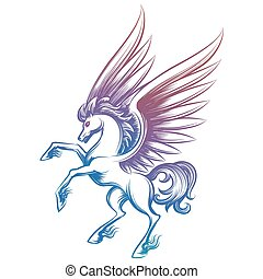 Colorful sketched Pegasus isolated on white