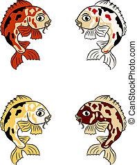 hand-drawn, peixes, em, diferente, cores