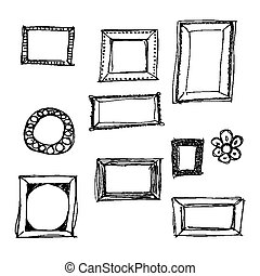 Hand drawn pen and ink style illustration of picture frames...