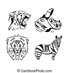 Hand-drawn pencil graphics, african animals set.