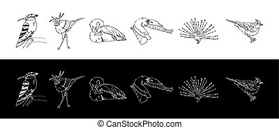 Hand-drawn pencil graphics, birds set. Engraving, stencil...