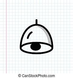 Hand drawn pendant ceiling lamp icon.