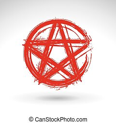 Hand drawn pentagram icon, brush