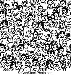 Hand Drawn People Characters Unrecognizable. Seamless...