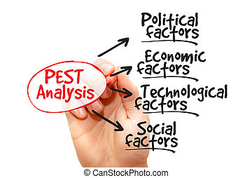 PEST Analysis - Hand drawn PEST Analysis flow chart, ...