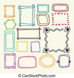 Hand drawn photo frames - Vector