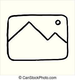 Hand drawn photo symbol doodle icon