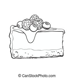 Hand drawn piece of cheesecake decorated with fresh berries