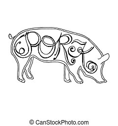 hand drawn pig with pork lettering
