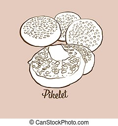 Hand-drawn Pikelet bread illustration. Pancake, usually known in United Kingdom, Scotland. Vector drawing series.