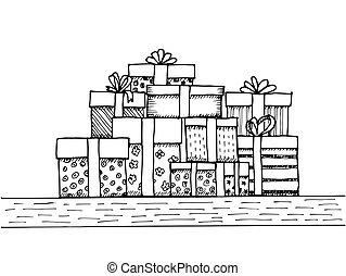 Hand - drawn pile of gifts on white background