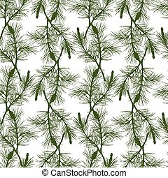 Hand drawn pine branch seamless pattern
