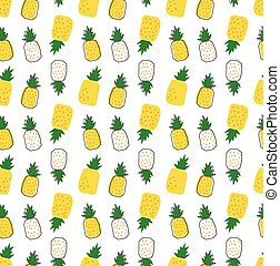 hand drawn pineapple cartoon pattern seamless background