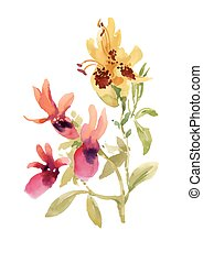 Hand drawn pink and yellow flowers isolated on white background